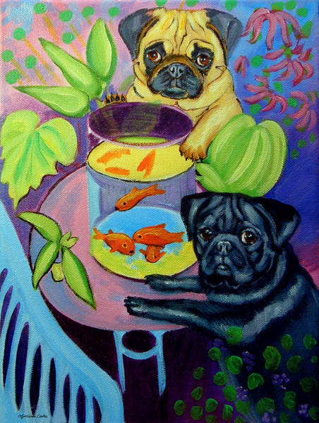 Parody Wall Art - Painting - The Goldfish Bowl - Pug by Lyn Cook