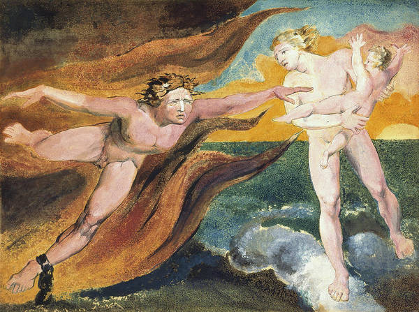 Struggle Painting - The Good And Evil Angels Struggling For Possession Of A Child by William Blake