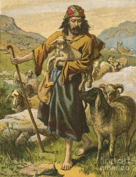 Sheep Rock Wall Art - Painting - The Good Shepherd by English School