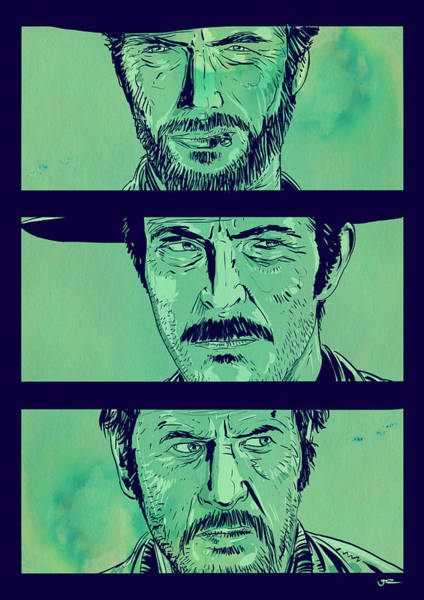 Movie Drawing - The Good The Bad And The Ugly by Giuseppe Cristiano