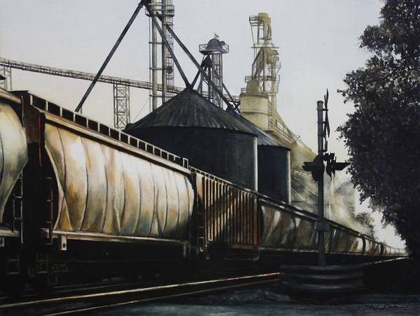 Scaffold Painting - The Grain Train At Shaker Tavern, Union, Kentucky by Misha Ambrosia