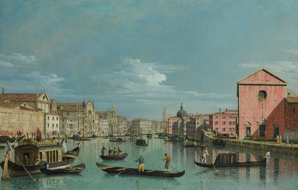 Waterway Painting - The Grand Canal Facing Santa Croce by Bernardo Bellotto