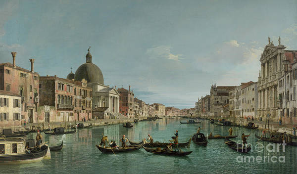 Waterway Painting - The Grand Canal In Venice With San Simeone Piccolo And The Scalzi Church by Canaletto