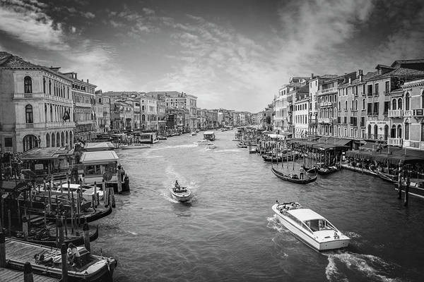 Italia Photograph - The Grand Canal Venice Italy In Black And White  by Carol Japp