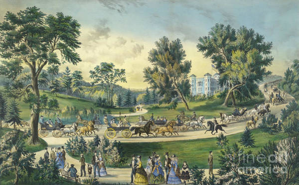 Wall Art - Painting - The Grand Drive, Central Park, New York, 1869 by Currier and Ives