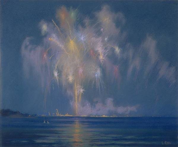 Bonfire Wall Art - Painting - The Grand Finale by Lendall Pitts