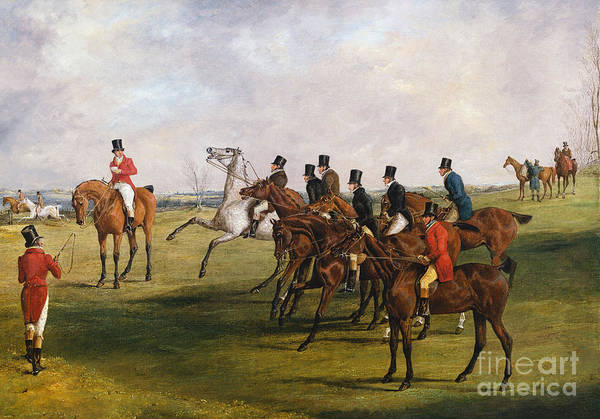 Wall Art - Painting - The Grand Leicestershire Steeplechase, March 12, 1829  The Start by Henry Thomas Alken