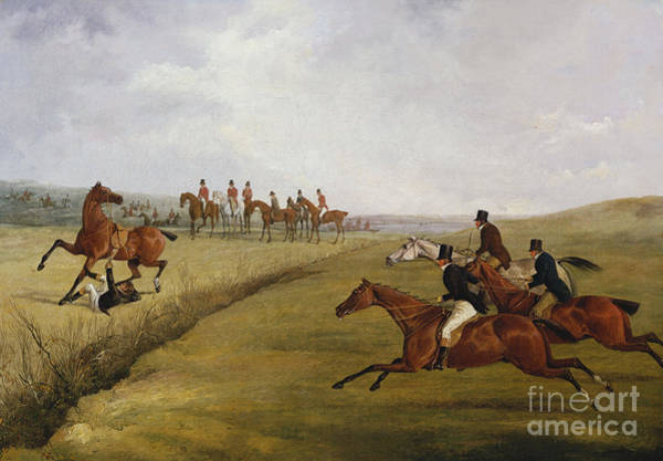 Chestnut Horse Painting - The Grand Leicestershire Steeplechase, March 12th, 1829 by Henry Thomas Alken