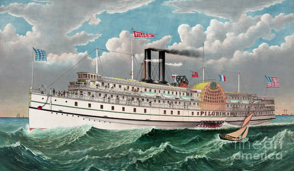 Cruiser Painting - The Grand New Steamboat Pilgrim by Currier and Ives