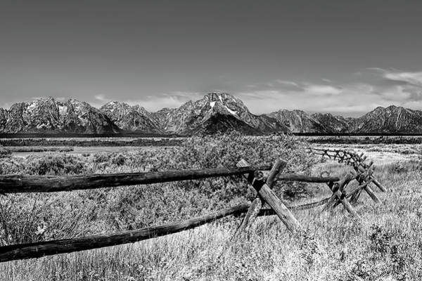 Photograph - The Grand Tetons In Wyoming In Black And White by Kay Brewer