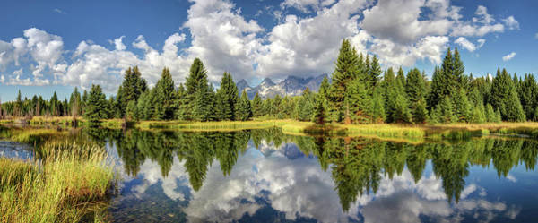 Digital Art - The Grand Tetons National Park Reflection Olena Art Photography  by OLena Art Brand