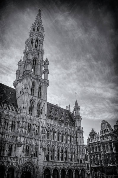 Market Place Photograph - The Grandeur Of The Grand Place Brussels In Black And White  by Carol Japp