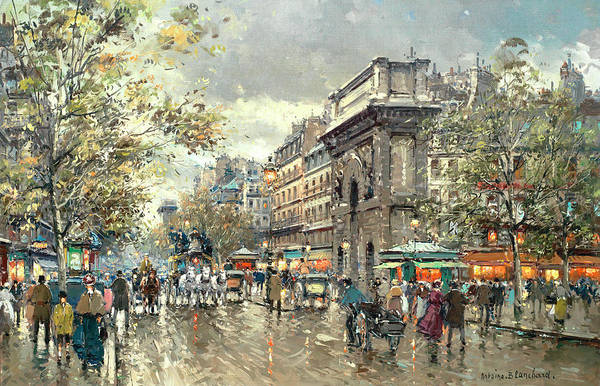 Wall Art - Painting - The Grands Boulevards- Porte St. Martin And Porte St. Denis by Antoine Blanchard