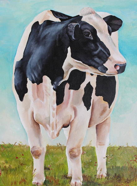 Holstein Wall Art - Painting - The Grass Is Always Greener by Laura Carey