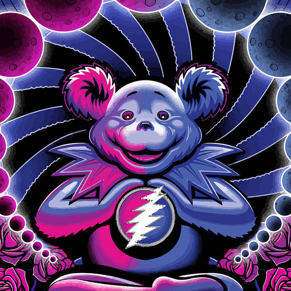 Surfer Digital Art - The Grateful Bear Ilustration by The Bear