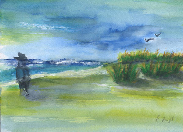Seagulls Mixed Media - The Gray Man Visits Pawleys Island Sc by Frank Bright