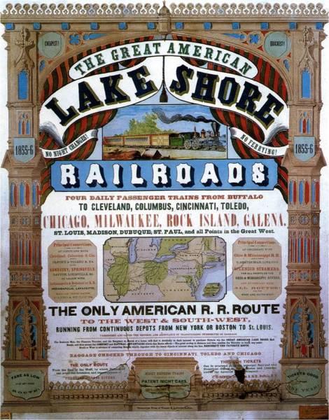 Vintage Railroad Painting - The Great American Lake Shore Railroads - Vintage Advertising Poster - Art Nouveau Style by Studio Grafiikka