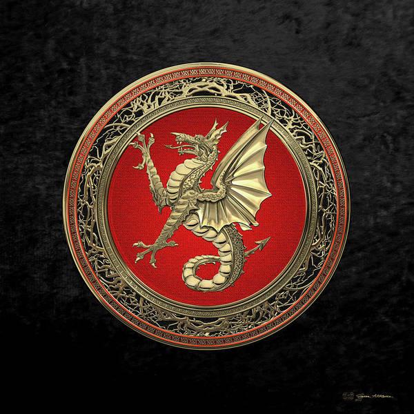 Digital Art - The Great Dragon Spirits - Gold Sea Dragon Over Black Velvet by Serge Averbukh