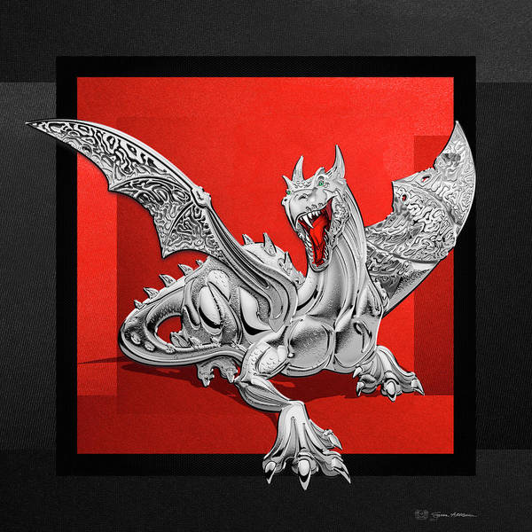 Digital Art - The Great Dragon Spirits - Silver Guardian Dragon On Black And Red Canvas by Serge Averbukh