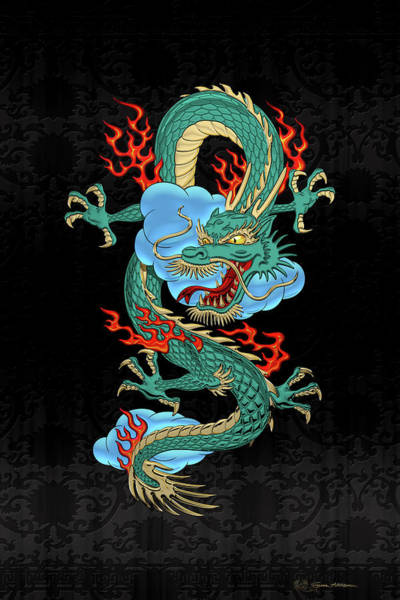 Digital Art - The Great Dragon Spirits - Turquoise Dragon On Black Silk by Serge Averbukh