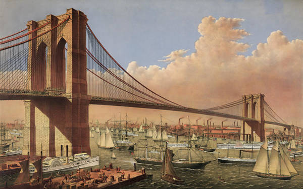 Wall Art - Painting - The Great East River Suspension Bridge - 1883 by War Is Hell Store