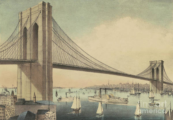 Currier And Ives Painting - The Great East River Suspension Bridge Connecting Manhattan And Brooklyn by Currier and Ives