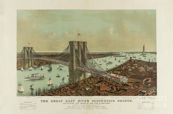 Photograph - The Great East River Suspension Bridge by Dale Powell