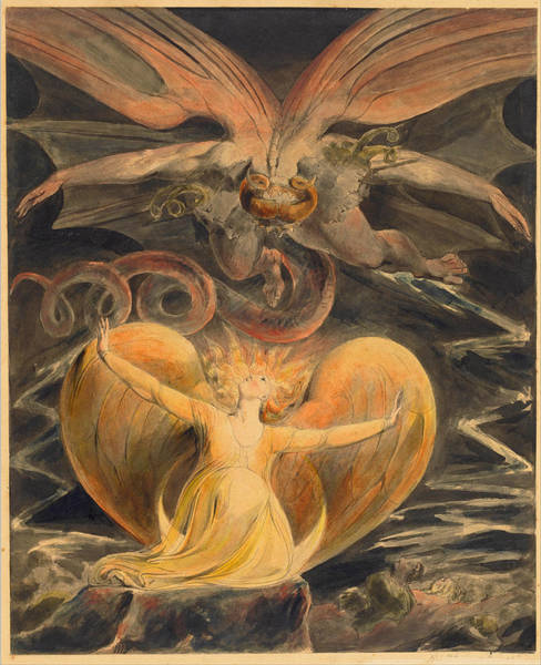 William Blake Drawing - The Great Red Dragon And The Woman Clothed With The Sun by William Blake