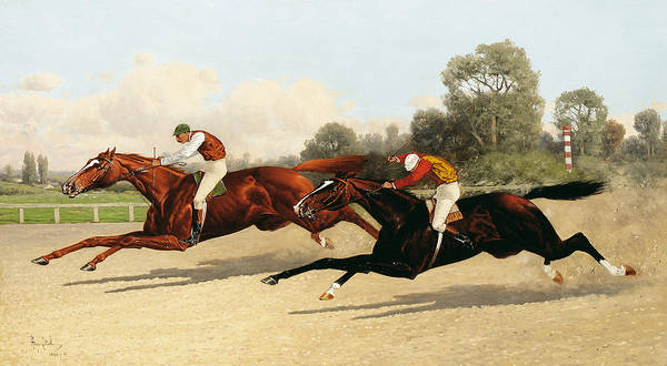 Chestnut Horse Painting - the Great Ten Thousand Dollar Match by Henry Stull
