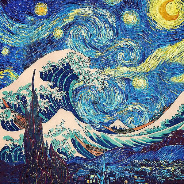Six Painting - The Great Wave Off Kanagawa - The Starry Night by S Martin