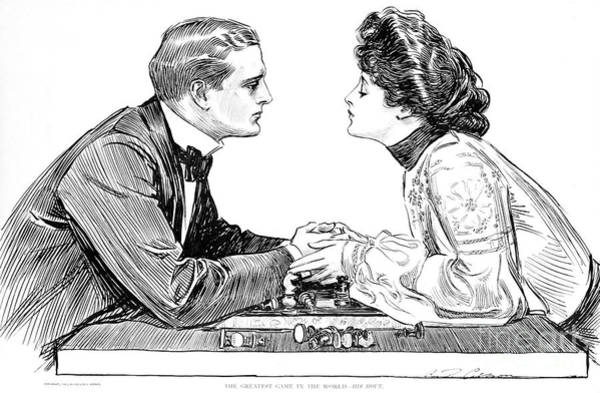 Flirting Drawing - The Greatest Game In The World  His Move by Charles Dana Gibson