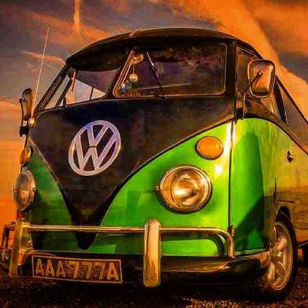 The Green And The Black #vw #camper Art Print