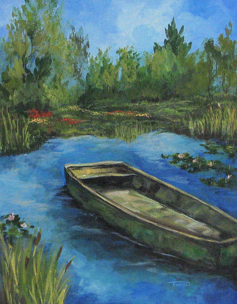 Flower Wall Art - Painting - The Green Boat At Giverny by Torrie Smiley