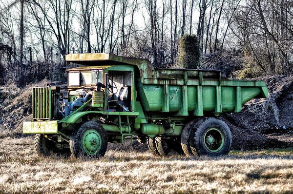 Dump Truck Digital Art - The Green Dump Truck by Bill Cannon