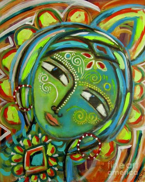 Art Print featuring the mixed media The Green Goddess  by Corina Stupu Thomas