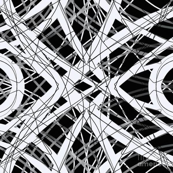 Digital Art - The Grid Black And White Abstract Design by Edward Fielding