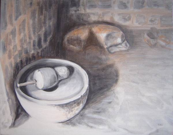 Usha Painting - The Grinding Stone by Usha Shantharam
