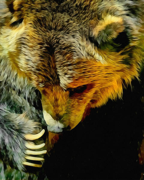 Colorado Wildlife Digital Art - The Grizzly by Ernie Echols