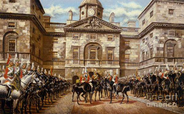 Clock Face Painting - The Guard Mounting  The Horse Guards At Whitehall  by Harry Payne and Arthur Charles