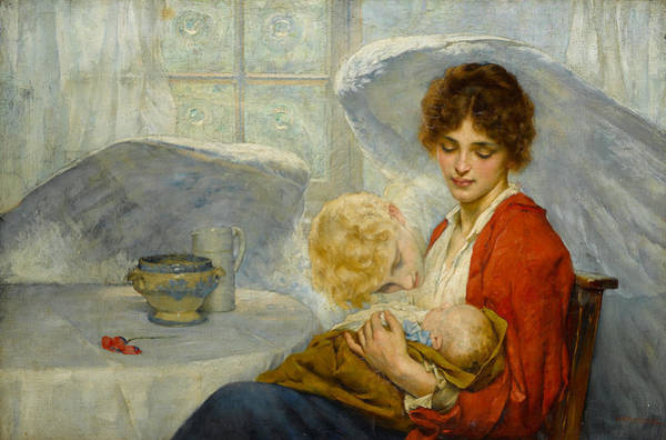 Wall Art - Painting - The Guardian Angel by William Arthur Breakspeare
