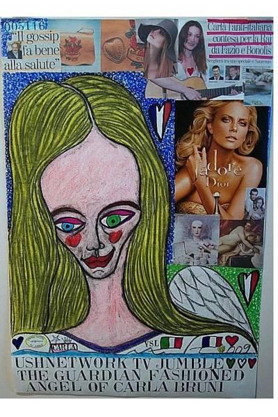 Wall Art - Mixed Media - The Guardian Fashioned Angel Of Carla Bruni by Francesco Martin