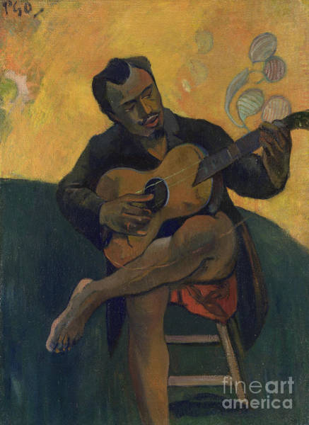 Strum Wall Art - Painting - The Guitarist by Paul Gauguin