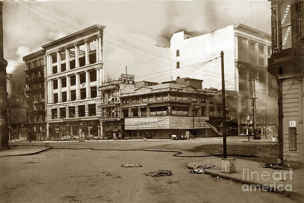 Photograph - The Hale Building And Chinn-beretta Optical Company 6th And Market St.  April 1906 by California Views Archives Mr Pat Hathaway Archives