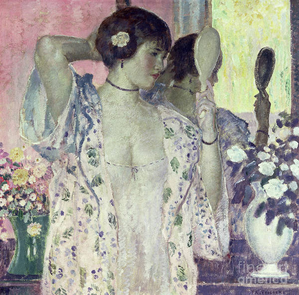 Gown Painting - The Hand Mirror by Frederick Carl Frieseke