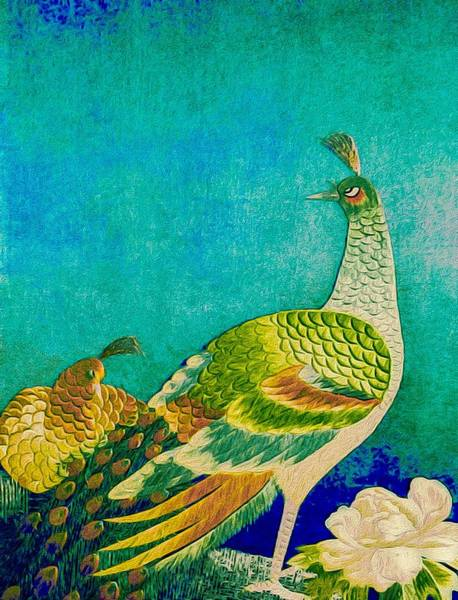Art Print featuring the tapestry - textile The Handsome Peacock - Kimono Series by Susan Maxwell Schmidt