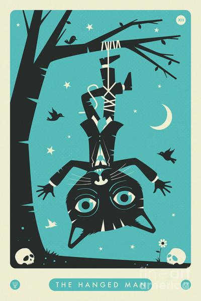 Hang Wall Art - Digital Art - The Hanged Man Tarot Card Cat by Jazzberry Blue