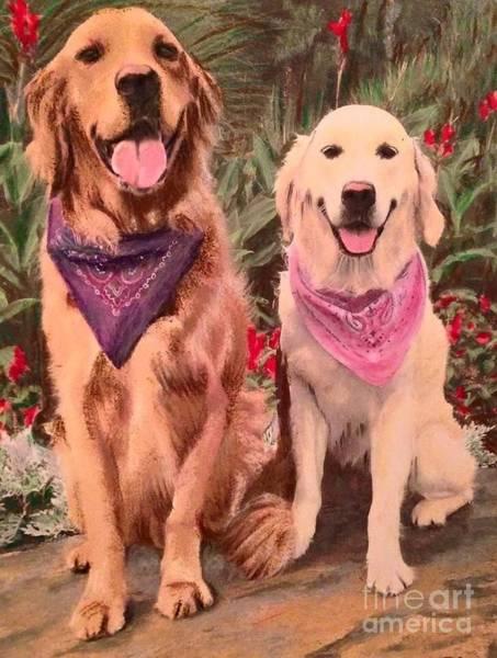 Golden Retriever Mixed Media - The Happy Couple by Kelli Porter