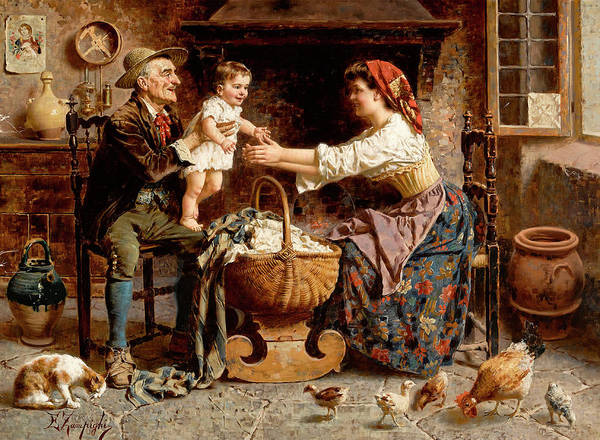 Rural Life Wall Art - Painting - The Happy Family by Eugenio Zampighi