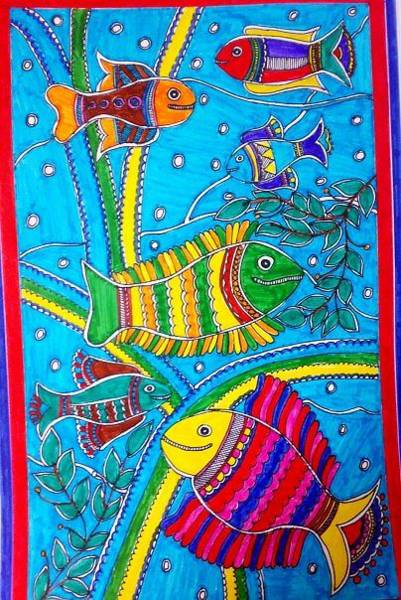 Madhubani Painting - The Happy Fishes by Vertikaa Singh