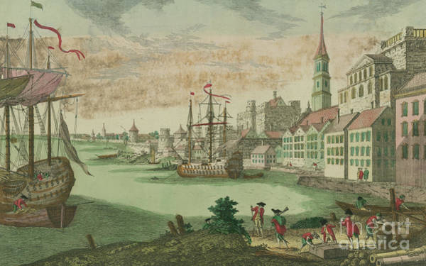 Pier Drawing - The Harbor In Boston, Massachusetts, 1770  by Franz Xavier Habermann